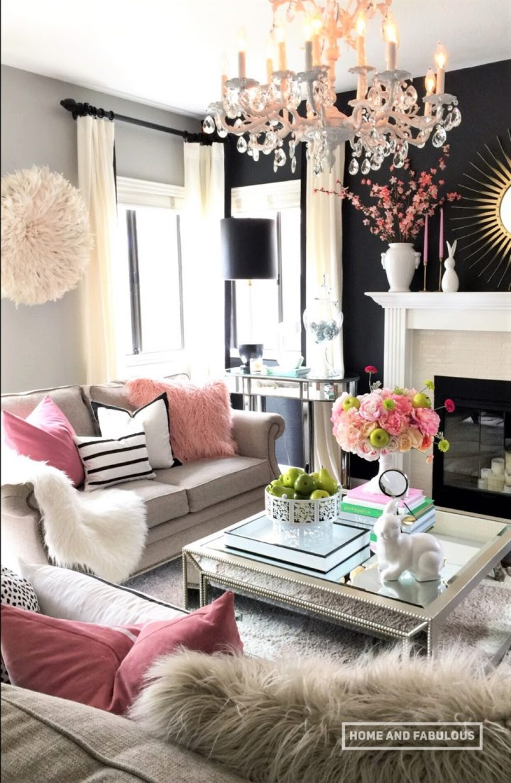 grey and pink living room with pink flowers
