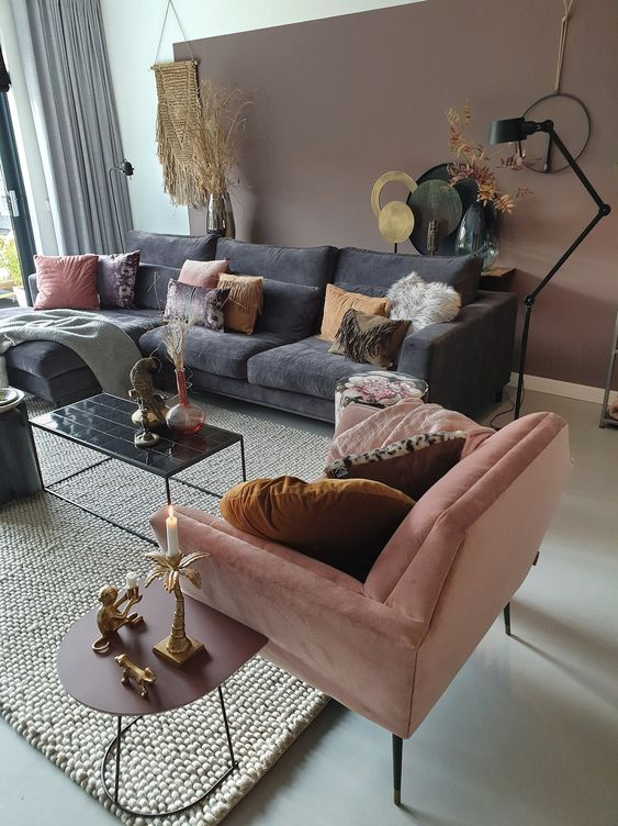 sofas in different colors with decorative pillows