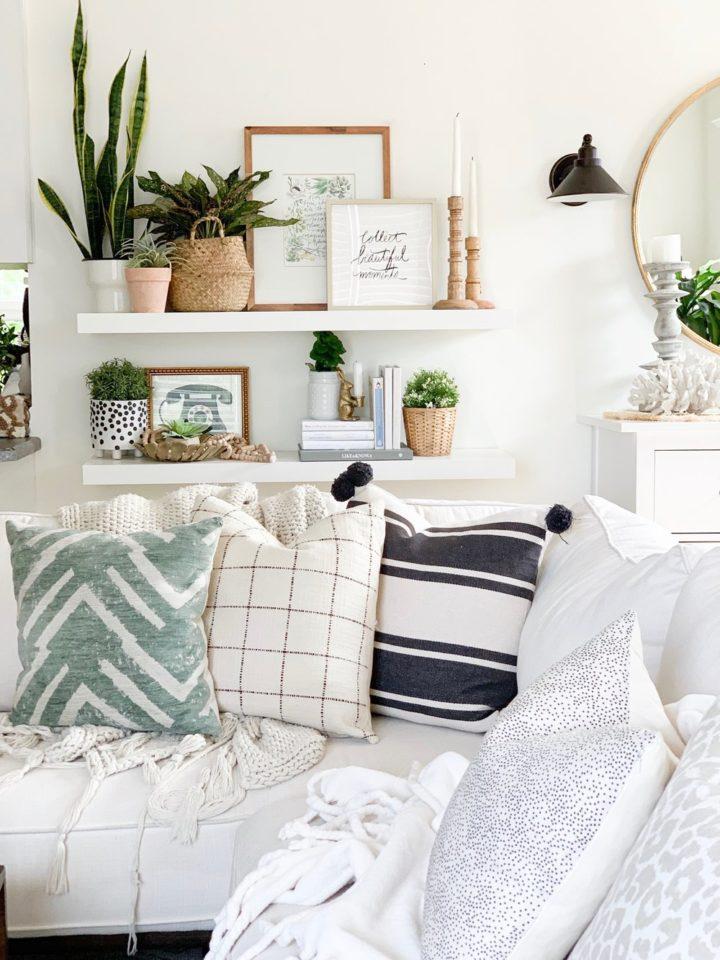 living room open shelving decorating idea