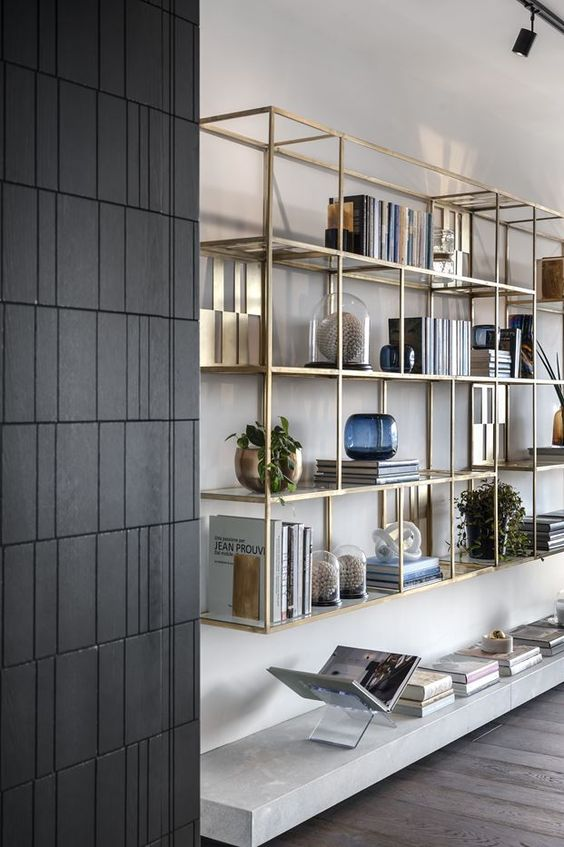 living room gold shelves decorating idea