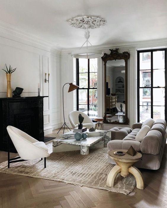mixing different wood tones living room idea