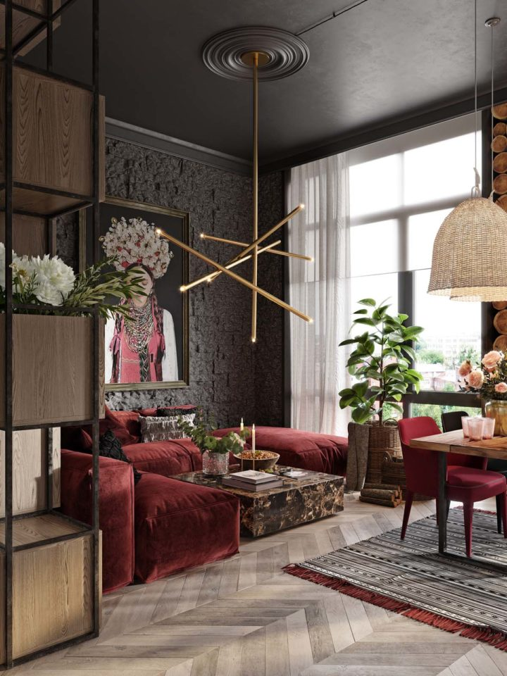 living-room with dark red velvet bold color sofa