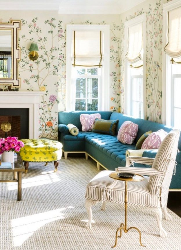 traditional living room with teal velvet sofa