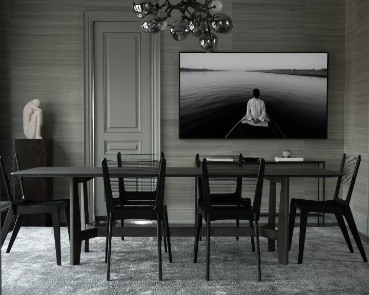 contemporary design in a dining room with shades of black and gray