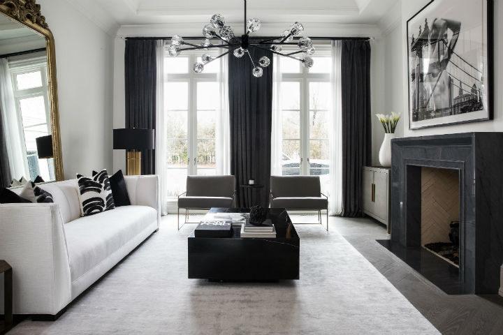 white sofa and black furniture for a contemporary design