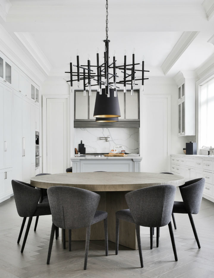 wooden table in a white kitchen