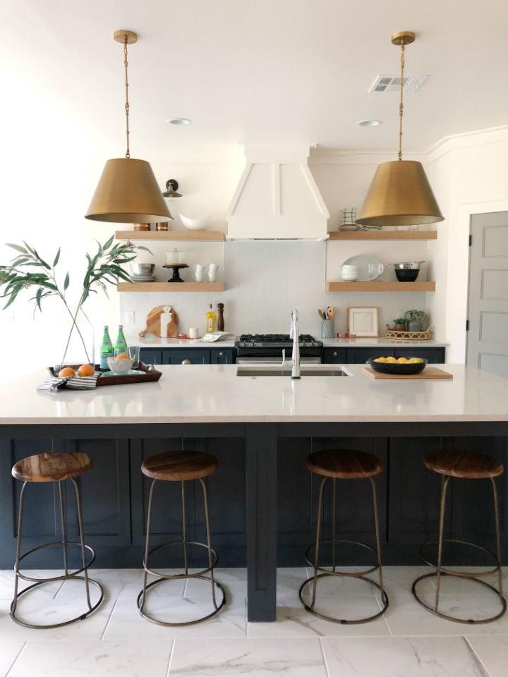 modern interior design in white and dark blue