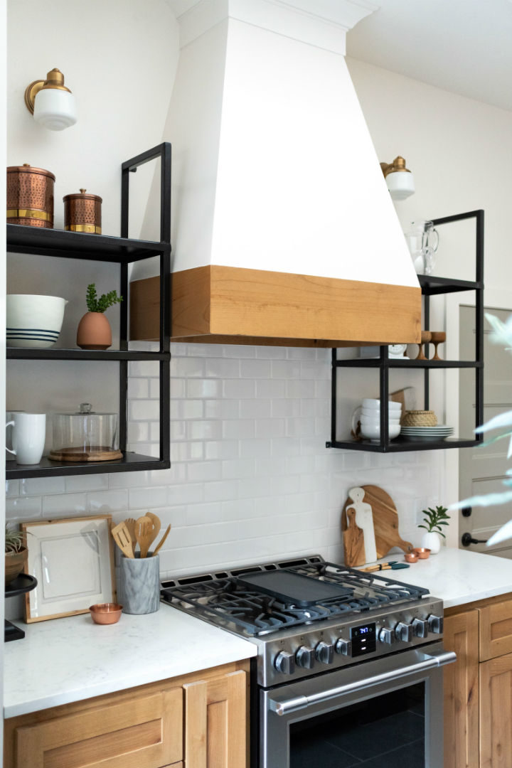wooden cabinets and a white wall