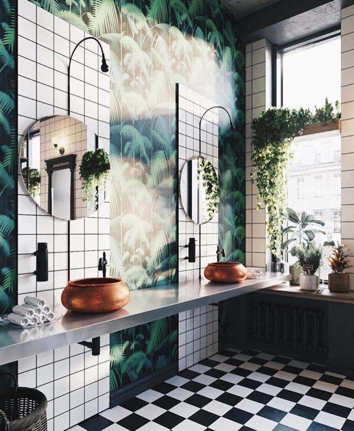 neon pothos plant and black and white tiles