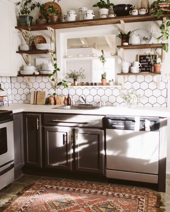 gray cabinets and white tiles