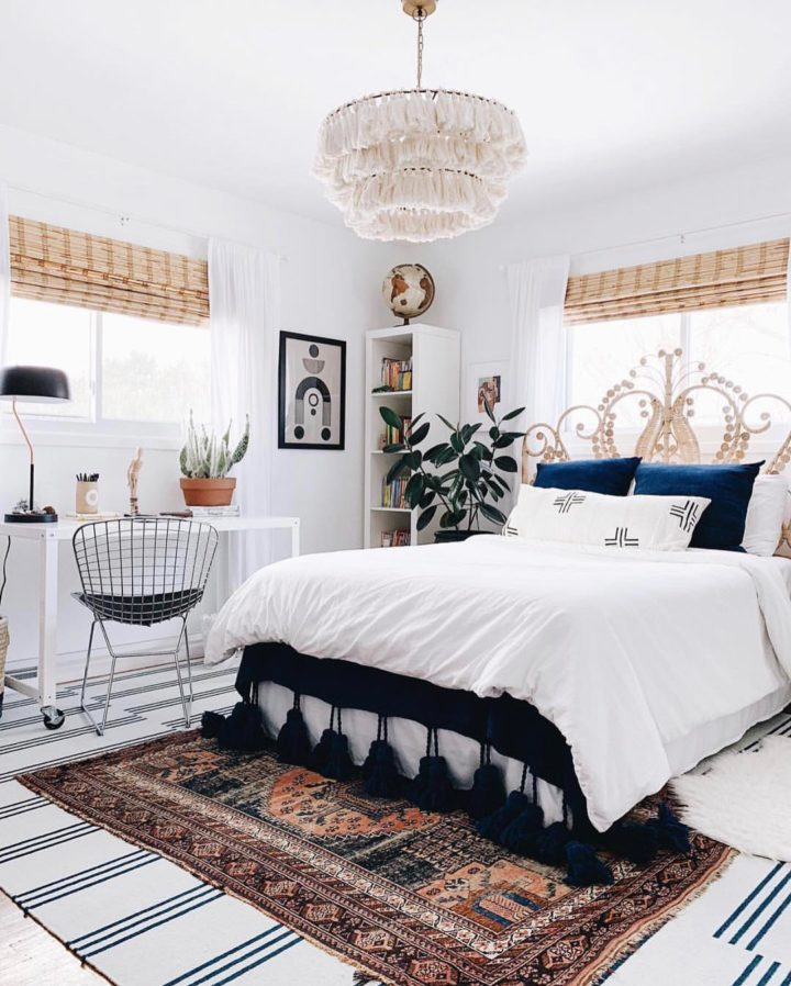bright bedroom with white walls