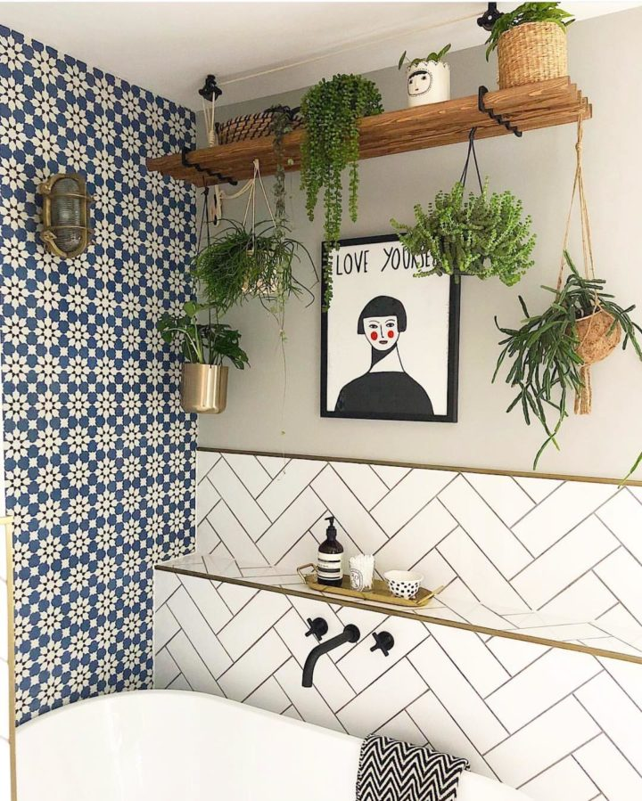 bathroom without mirror with wall art and indoor hanging plants
