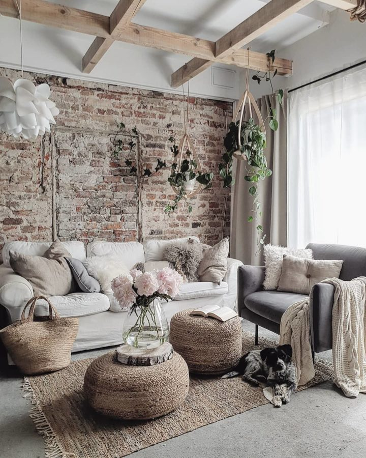 brick wall in a living room