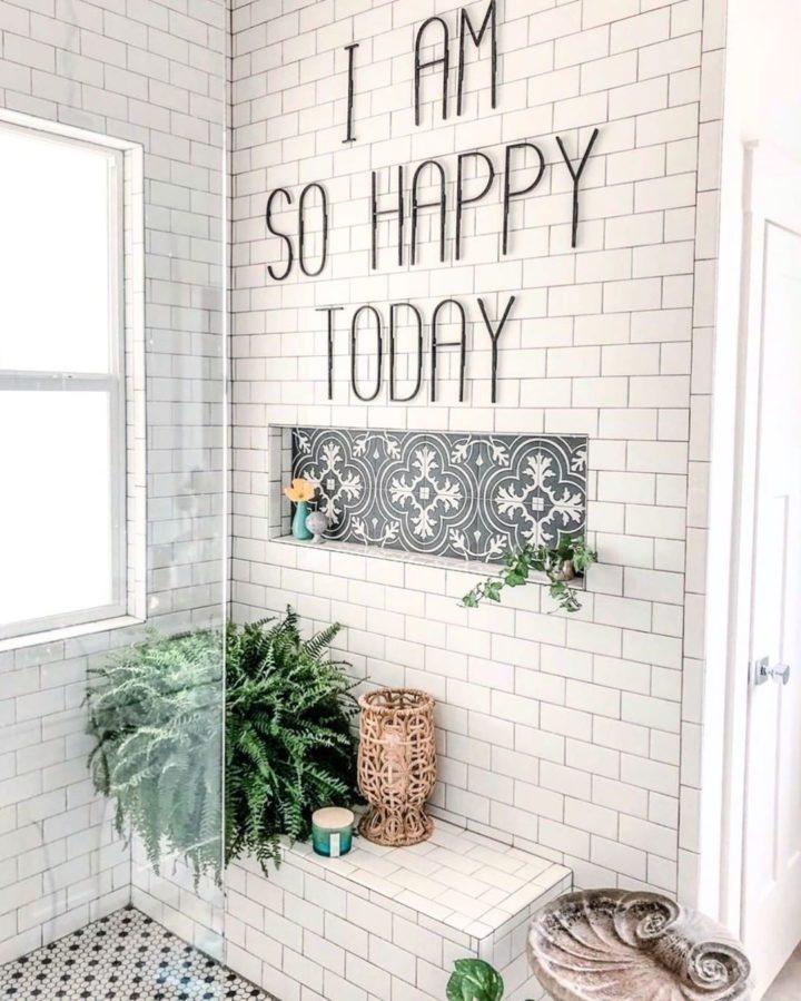 ferns in bathroom