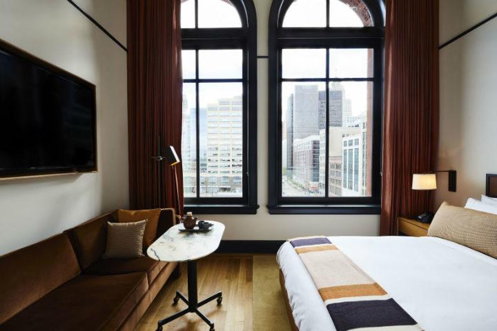 hotel room with big windows