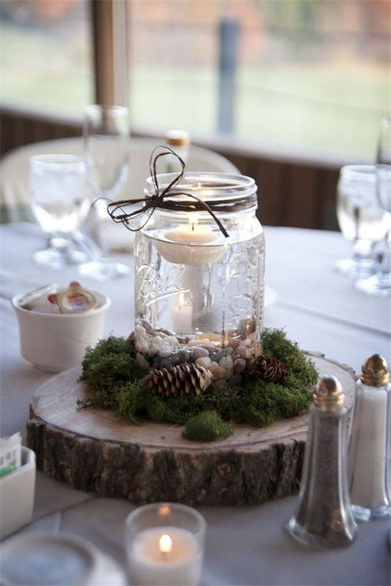 thanksgiving decorations with jars and candles