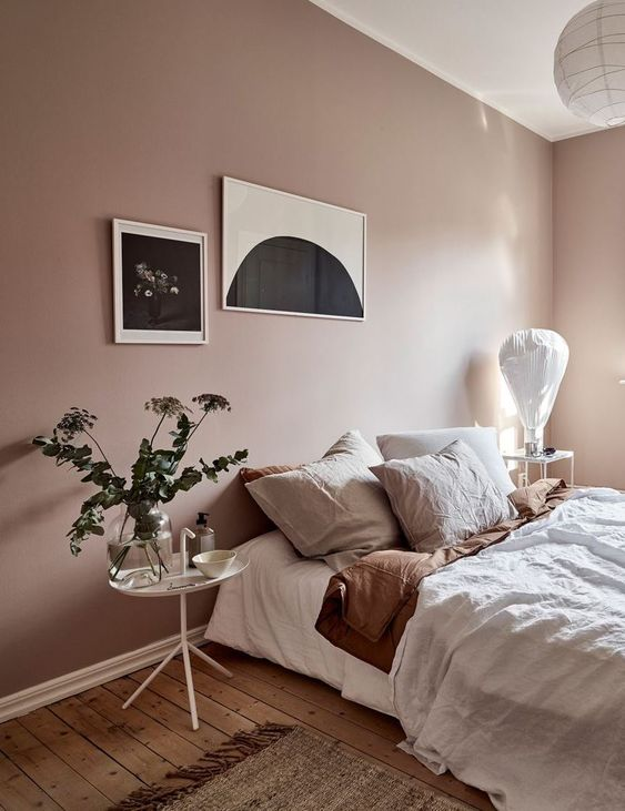 blush pink bedroom wall color