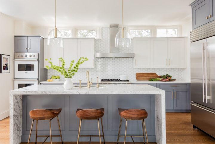 light grey and white cabinets