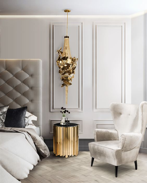 light grey bedroom wall color with gold touches
