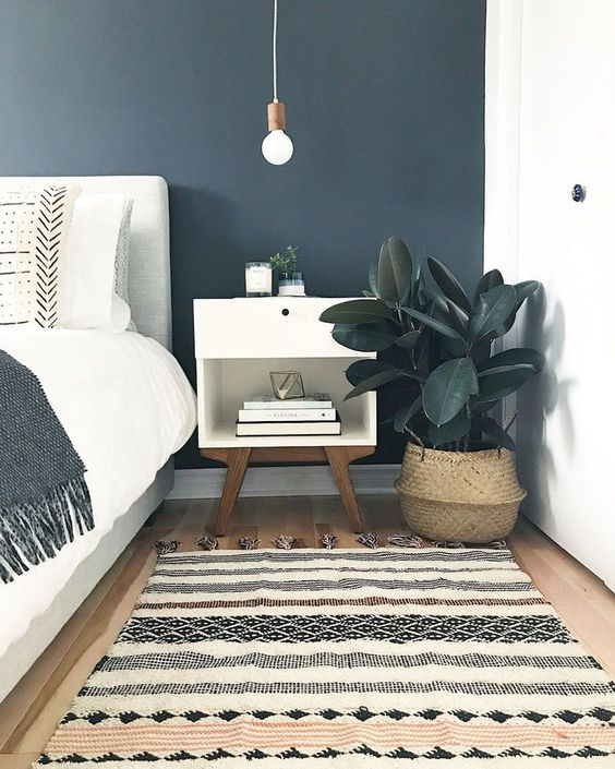 navy blue bedroom wall color