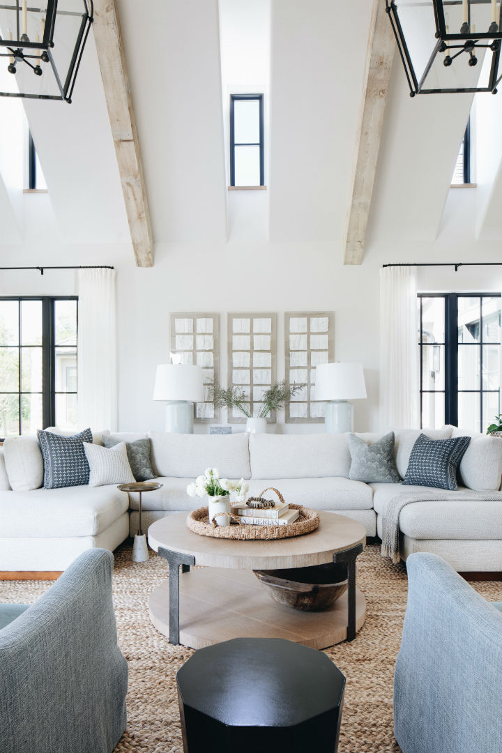 transitional living room with high ceiling 3