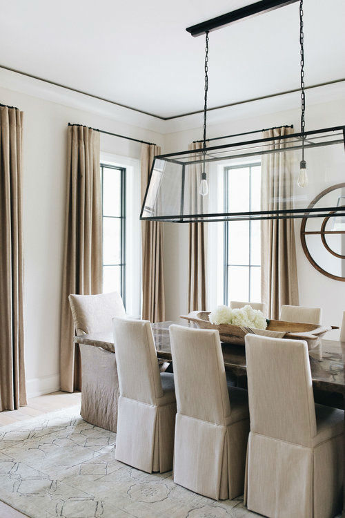 transitional beige dining room