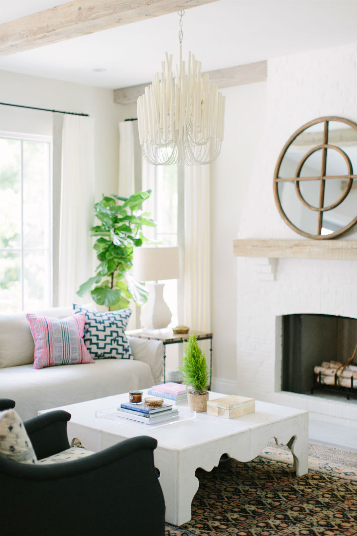 transitional cream living room with pops of color