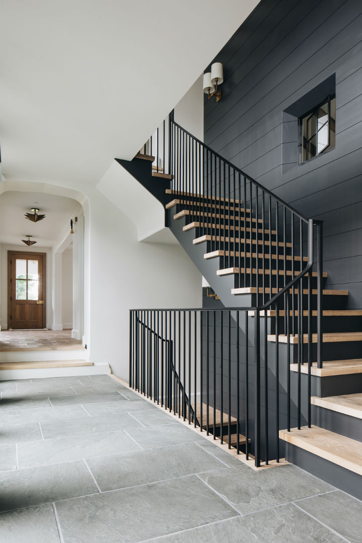 modern English country black and wood staircase