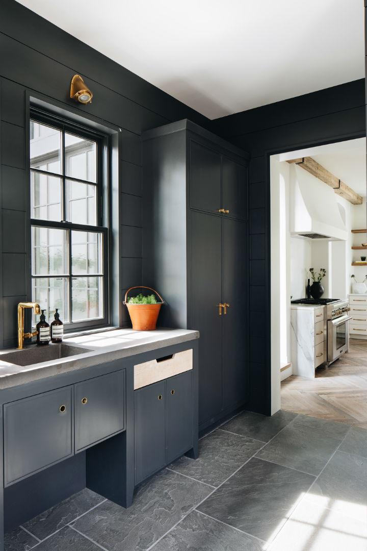 modern English country black kitchen