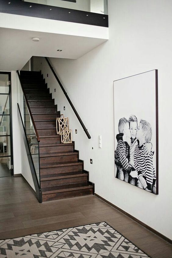 white wall next to stairs
