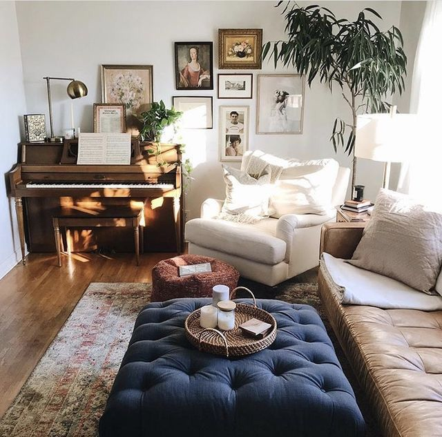 small living room with piano