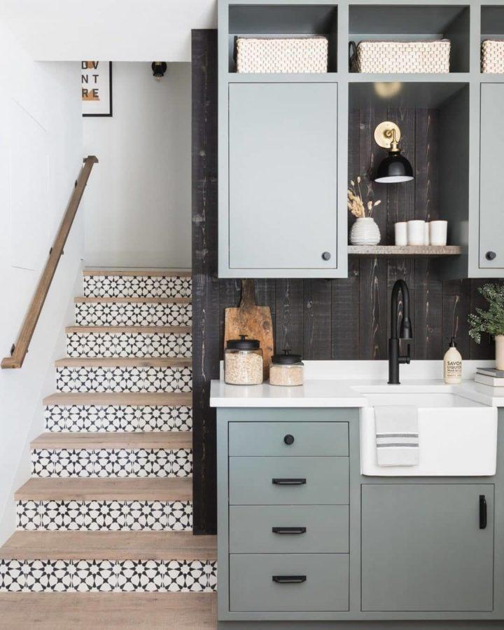 lovely blue grey kitchenette