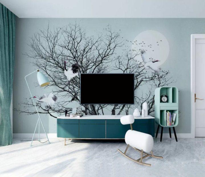 painting behind TV