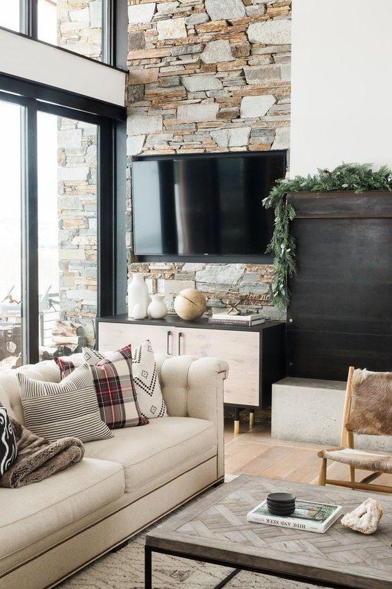 brick wall behind TV