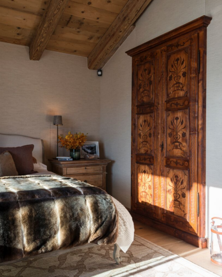 bedroom with wood elements