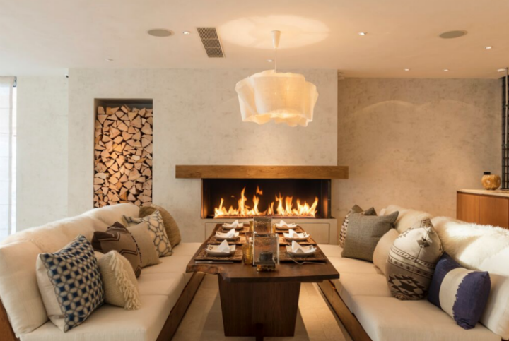 luxury chalet fireplace