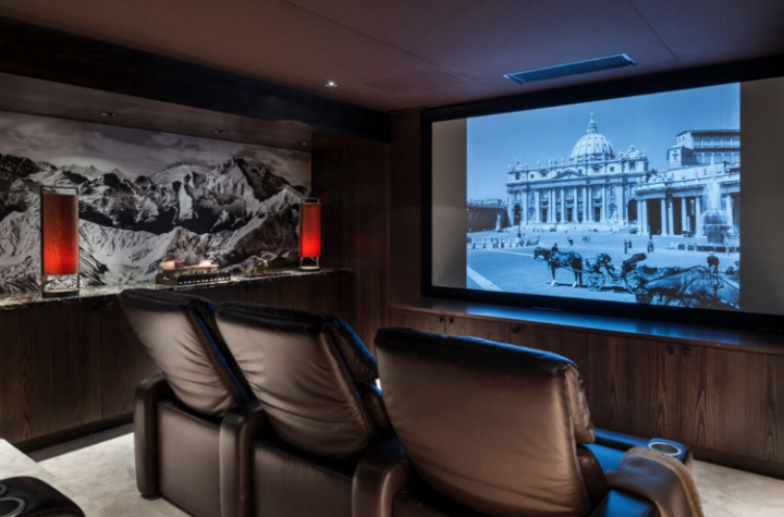 home cinema in luxury chalet