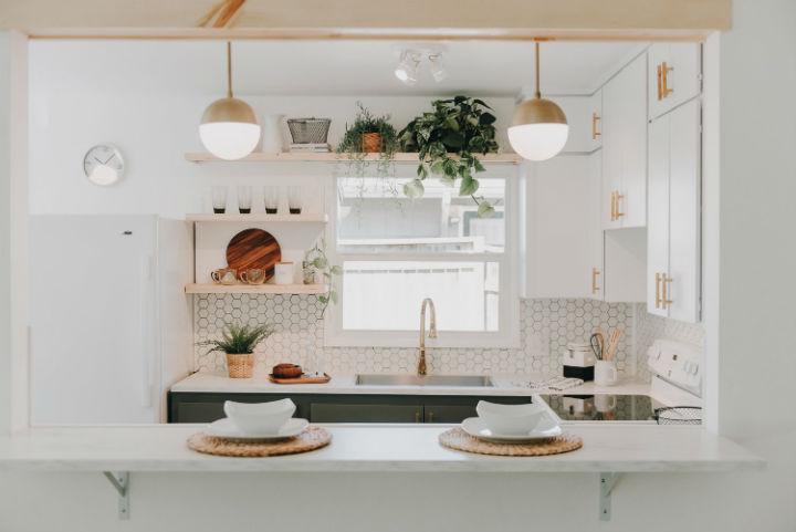 hexagonal wall tiles in kitchen