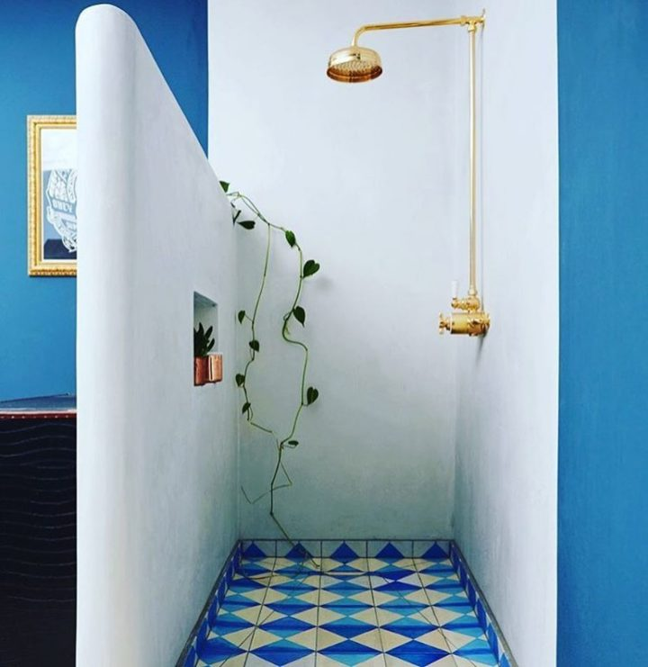 bold blue and white bathroom design