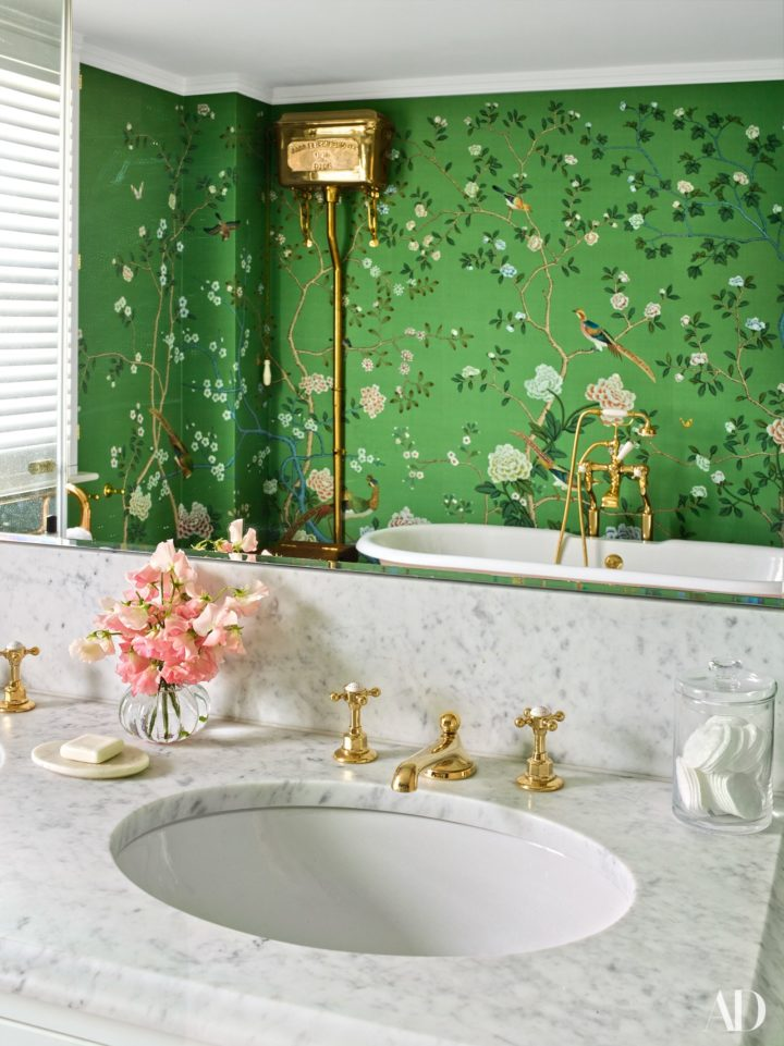 green and floral bathroom wall