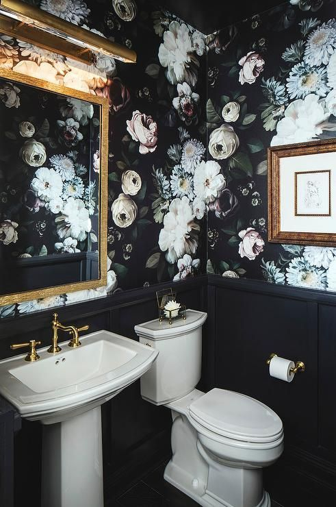 black floral bathroom wall