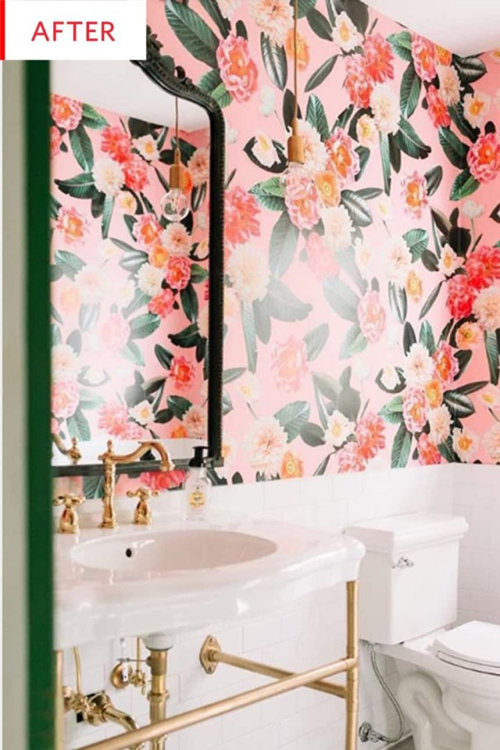 pink floral bathroom decor