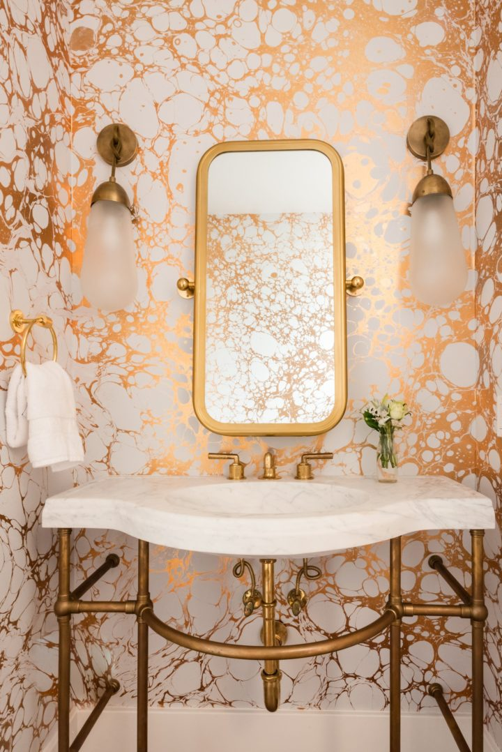 gold and marble bathroom design