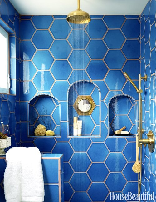 hexagon tiles in bathroom