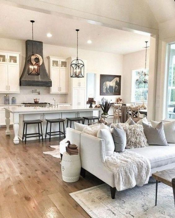 neutral colors used in living room and kitchen