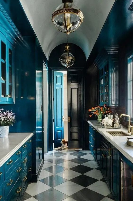 blue and white colors for galley kitchen