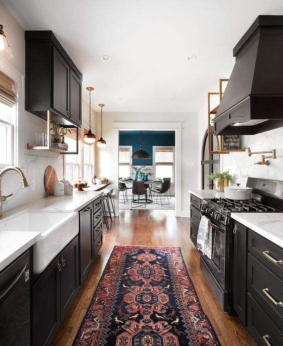 white and black colors for galley kitchen