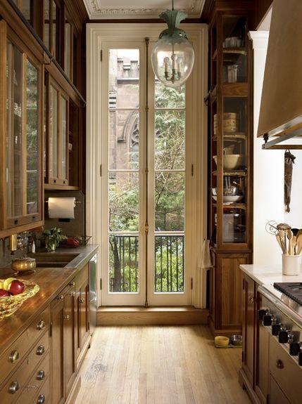 wood brown galley kitchen