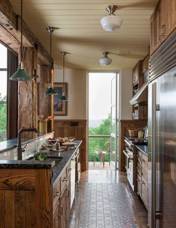 wood galley kitchen