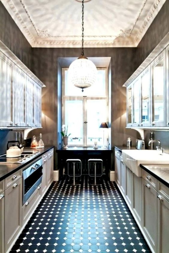 black and white colors for galley kitchen